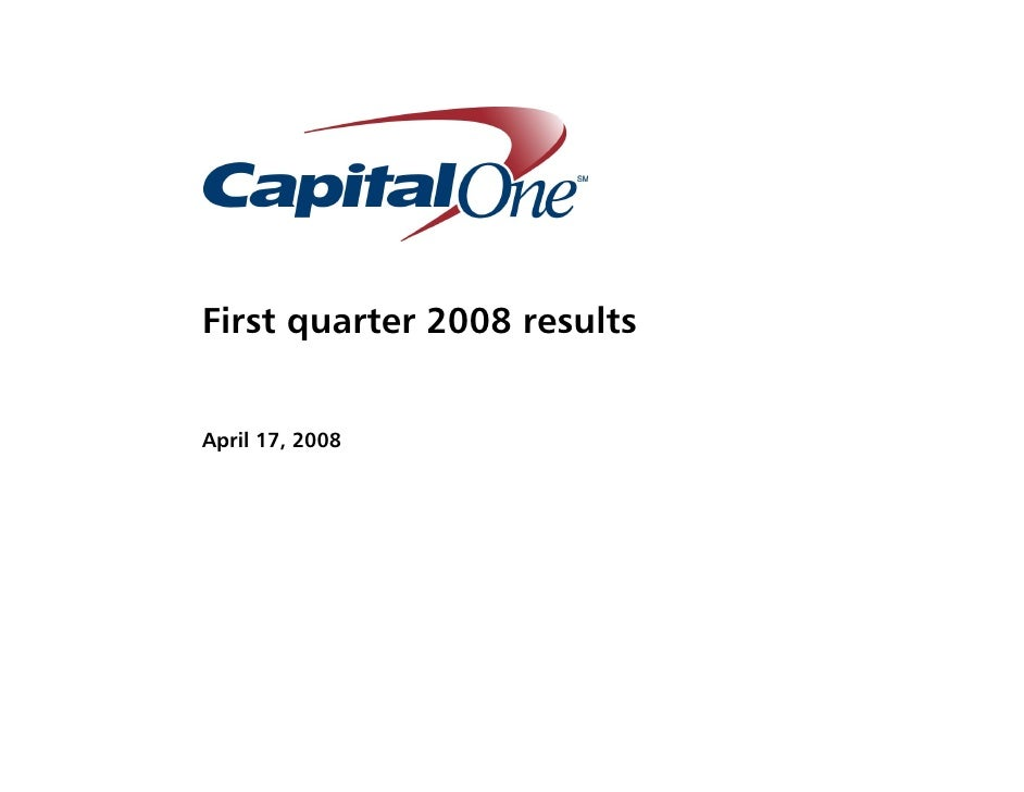 First quarter 2008 results   April 17, 2008
