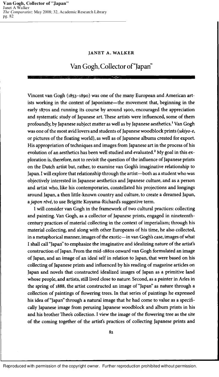 """Van Gogh, Collector of """"Japan""""Janet A WalkerThe Comparatist; May 2008; 32, Academic Research Librarypg. 82Reproduced with ..."""