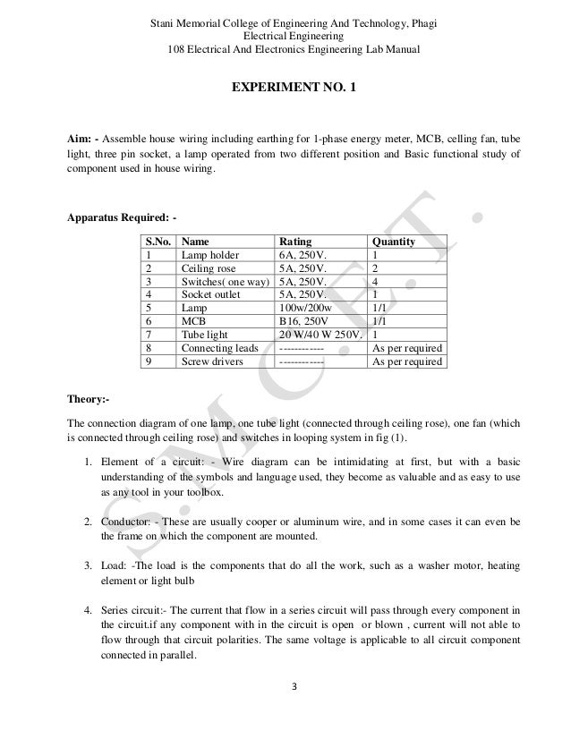 Electrical Wiring Lab Manual - Example Electrical Circuit •