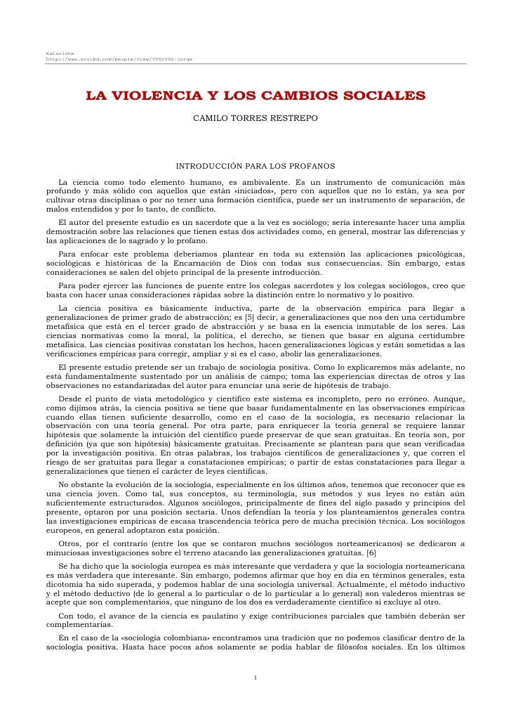Katariche http://www.scribd.com/people/view/3502992-jorge                 LA VIOLENCIA Y LOS CAMBIOS SOCIALES             ...