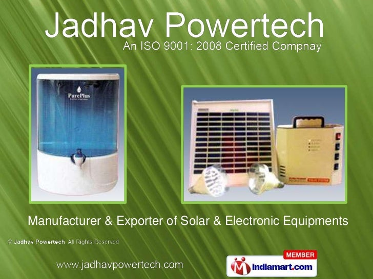 Manufacturer & Exporter of Solar & Electronic Equipments