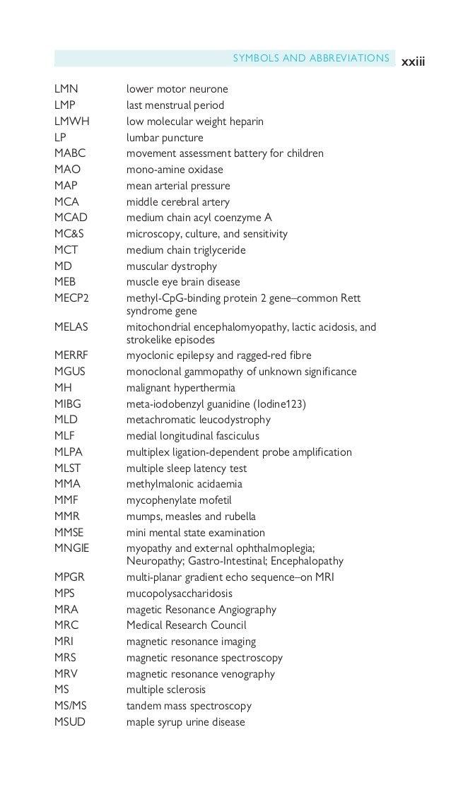 xxiv SYMBOLS AND ABBREVIATIONS MTHFR methylene tetrahydrofolate MUP motor unit potential MuSK musculo-specific kinase MWT m...