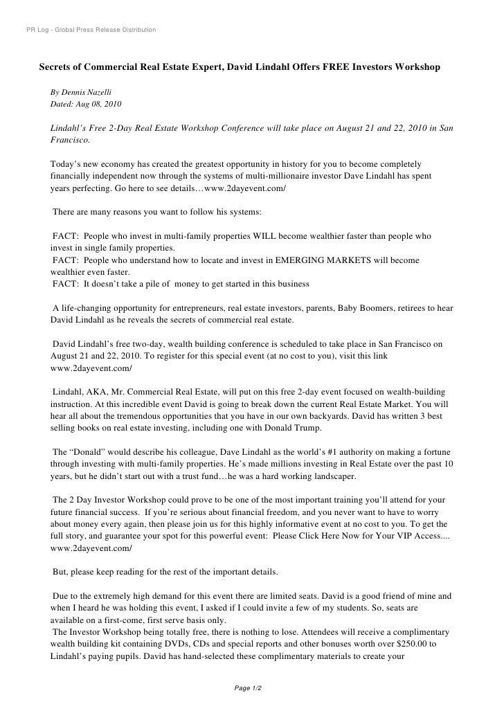 PR Log - Global Press Release Distribution         Secrets of Commercial Real Estate Expert, David Lindahl Offers FREE Inv...