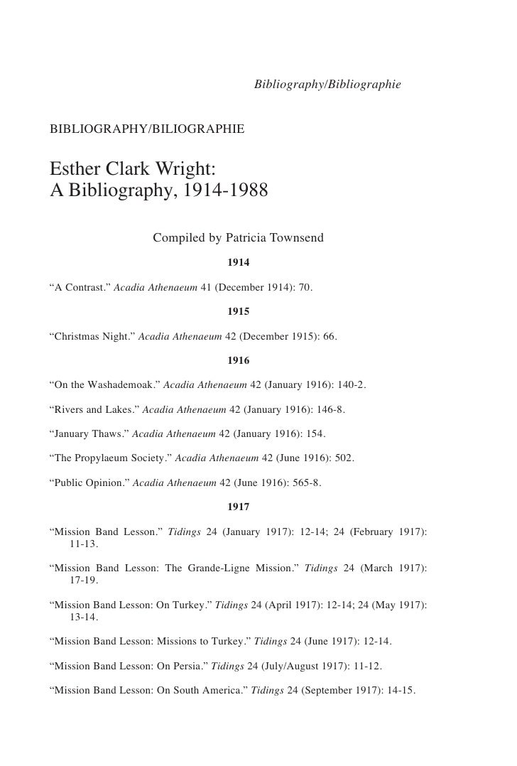 Bibliography/BibliographieBIBLIOGRAPHY/BILIOGRAPHIEEsther Clark Wright:A Bibliography, 1914-1988                      Comp...