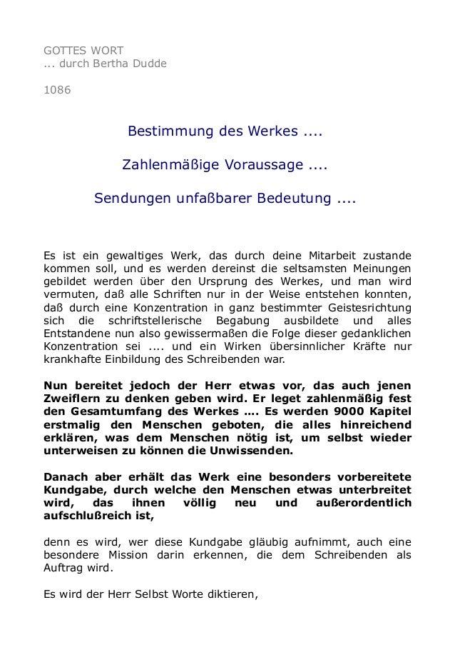 GOTTES WORT ... durch Bertha Dudde 1086  Bestimmung des Werkes .... Zahlenmäßige Voraussage .... Sendungen unfaßbarer Bede...
