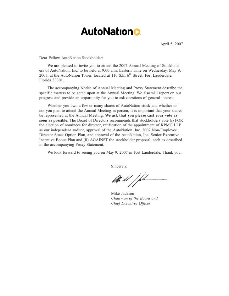 April 5, 2007   Dear Fellow AutoNation Stockholder:      We are pleased to invite you to attend the 2007 Annual Meeting of...