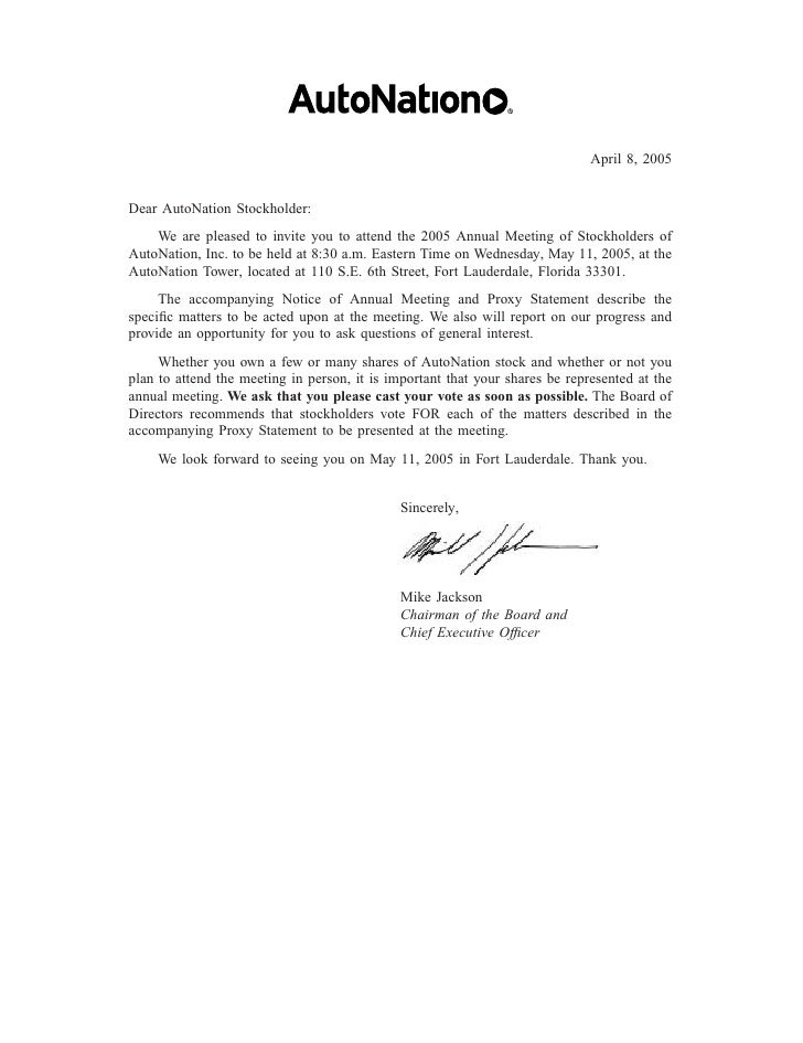 April 8, 2005   Dear AutoNation Stockholder:     We are pleased to invite you to attend the 2005 Annual Meeting of Stockho...