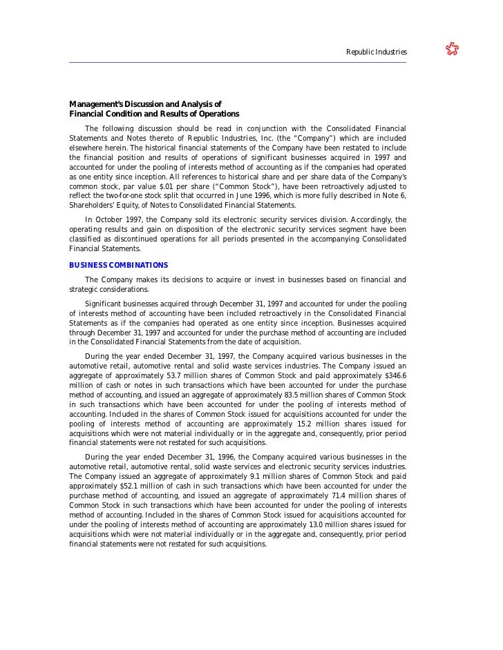 Republic Industries     Management's Discussion and Analysis of Financial Condition and Results of Operations      The fol...