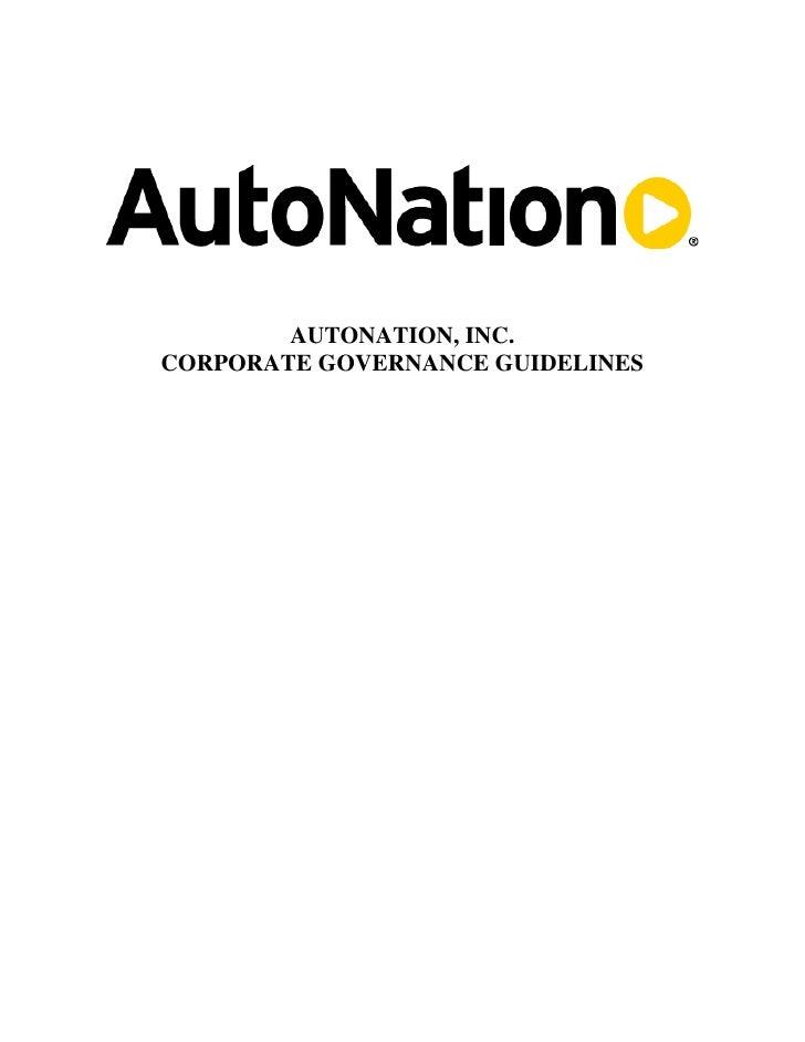 AUTONATION, INC. CORPORATE GOVERNANCE GUIDELINES
