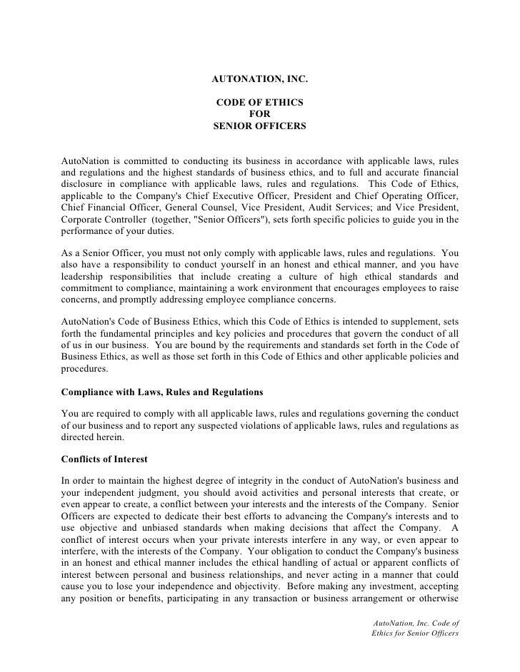 AUTONATION, INC.                                         CODE OF ETHICS                                             FOR   ...