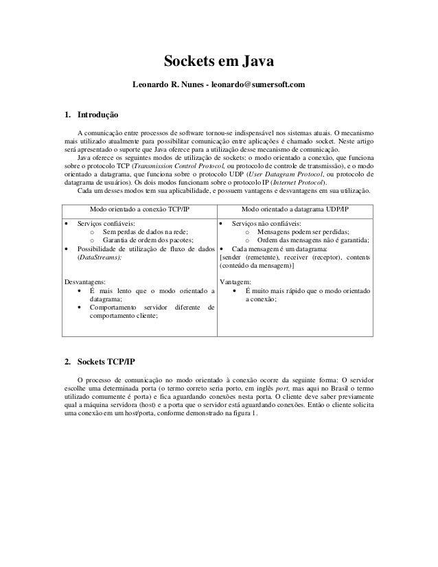 Sockets em Java Leonardo R. Nunes - leonardo@sumersoft.com  1. Introdução A comunicação entre processos de software tornou...