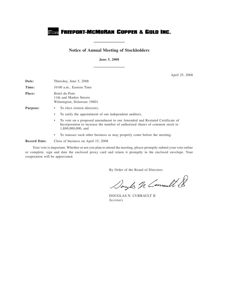 Notice of Annual Meeting of Stockholders                                                      June 5, 2008                ...