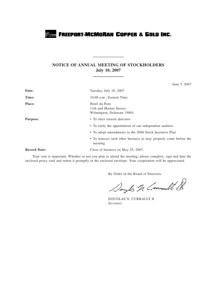 NOTICE OF ANNUAL MEETING OF STOCKHOLDERS                                  July 10, 2007                                   ...