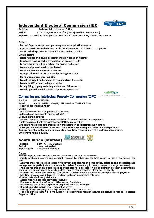 Page 3 Independent Electoral Commission (IEC) Position : Assistant Administration Officer Period : start - 01/06/2011 - 30...