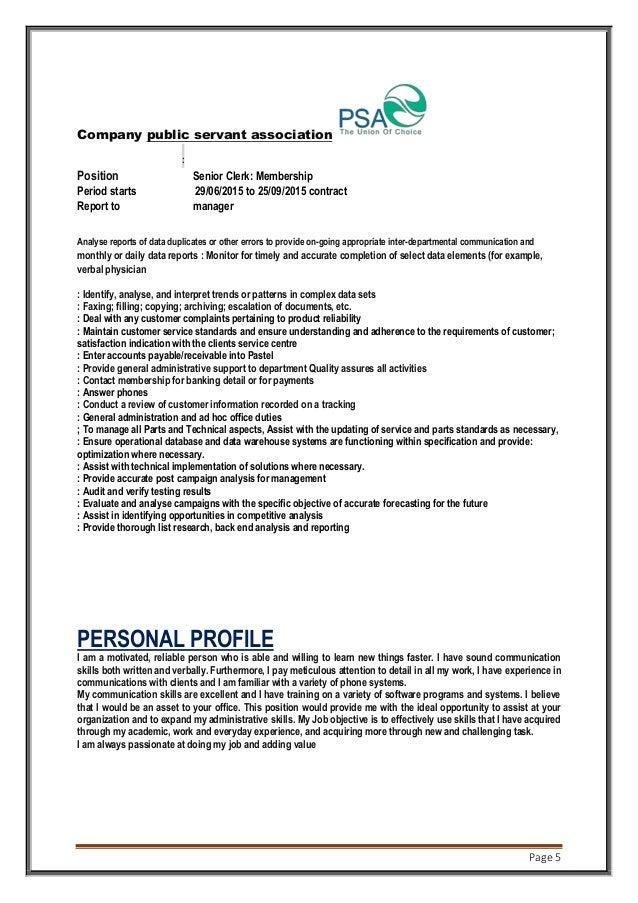 Page 5 Company public servant association public serant assosiation: Position Senior Clerk: Membership Period starts 29/06...
