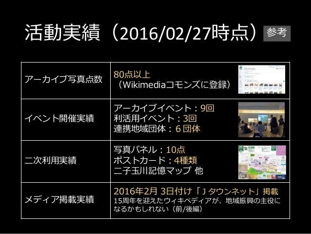 活動実績(2016/02/27時点) アーカイブ写真点数 80点以上 (Wikimediaコモンズに登録) イベント開催実績 アーカイブイベント:9回 利活用イベント:3回 連携地域団体:6団体 二次利用実績 写真パネル:10点 ポストカード:...