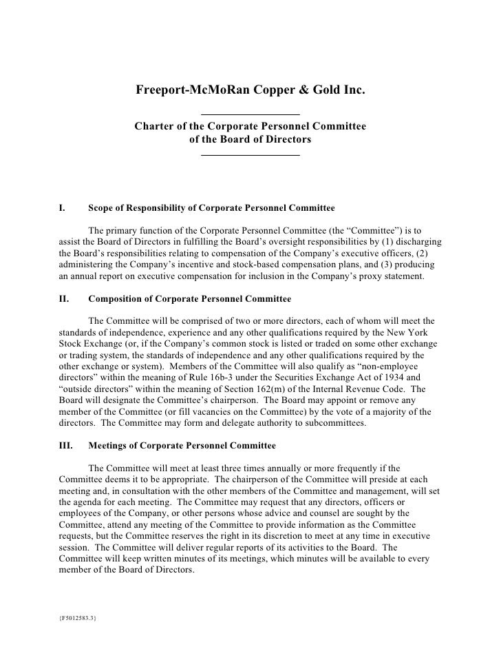 Freeport-McMoRan Copper & Gold Inc.                     Charter of the Corporate Personnel Committee                      ...