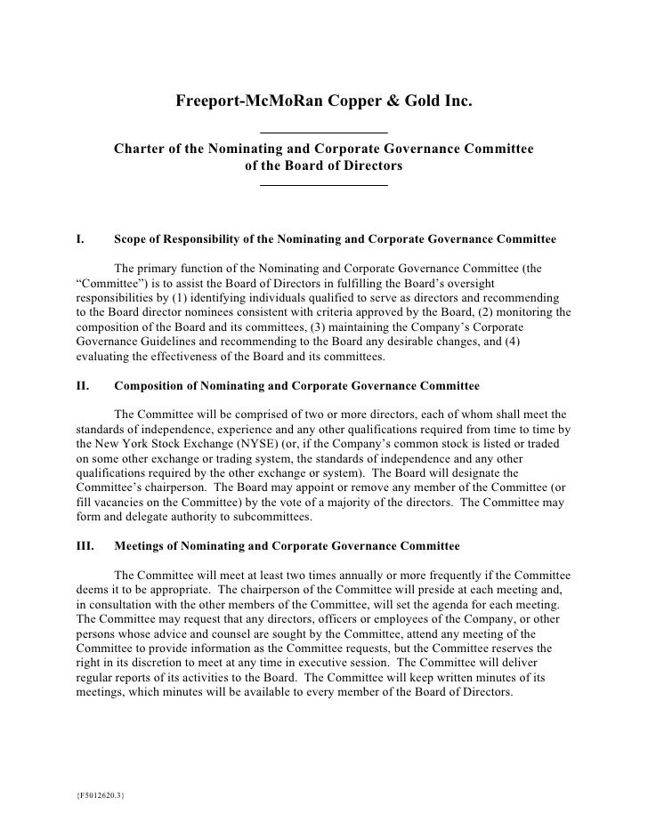 Freeport-McMoRan Copper & Gold Inc.           Charter of the Nominating and Corporate Governance Committee                ...