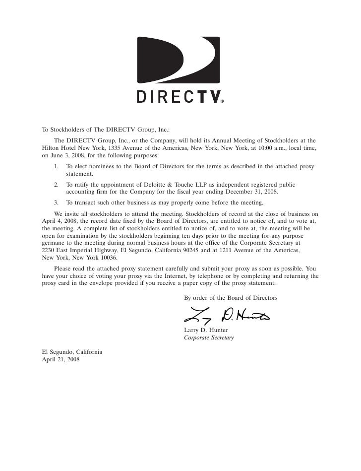 10APR200710410838    To Stockholders of The DIRECTV Group, Inc.:      The DIRECTV Group, Inc., or the Company, will hold i...