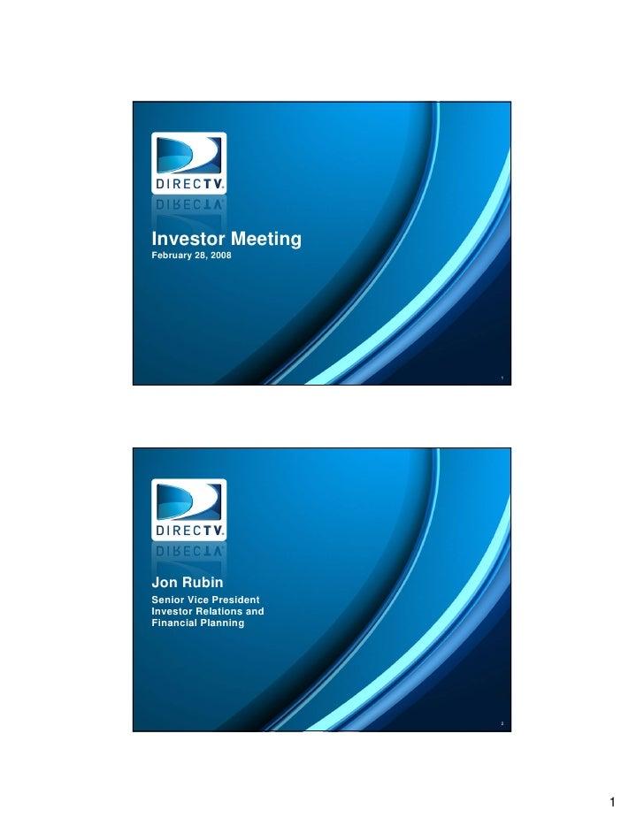 Investor Meeting Presentation Title Slide February 28, 2008    Speaker Name Title (change point size to 16pt)             ...
