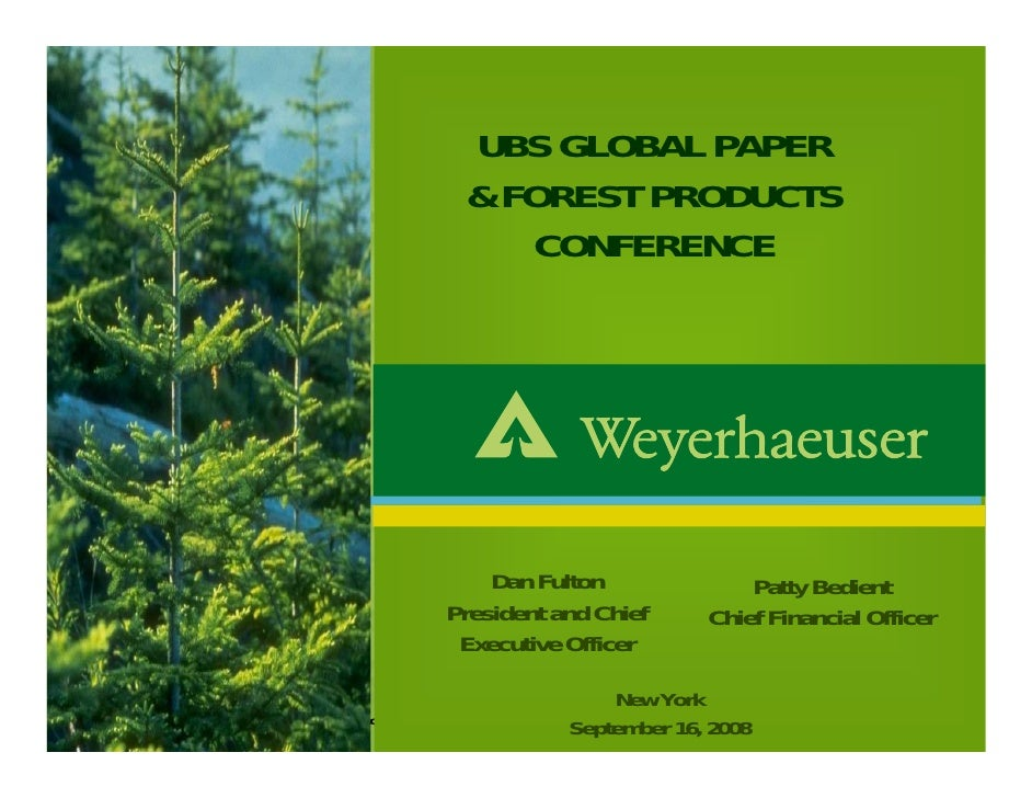 UBS GLOBAL PAPER                                                  & FOREST PRODUCTS                                       ...