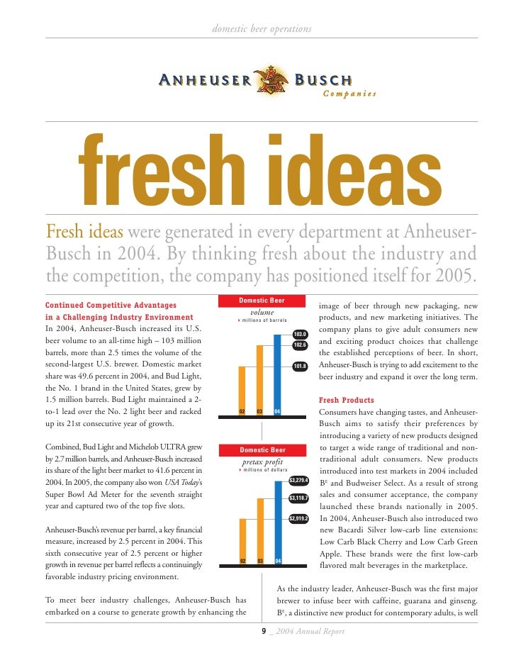 the ideas and inventions of anheuser busch Anheuser-busch, a wholly owned subsidiary of anheuser-busch inbev sa/nv, is the largest brewing company in the united states, with a market share of 45 .