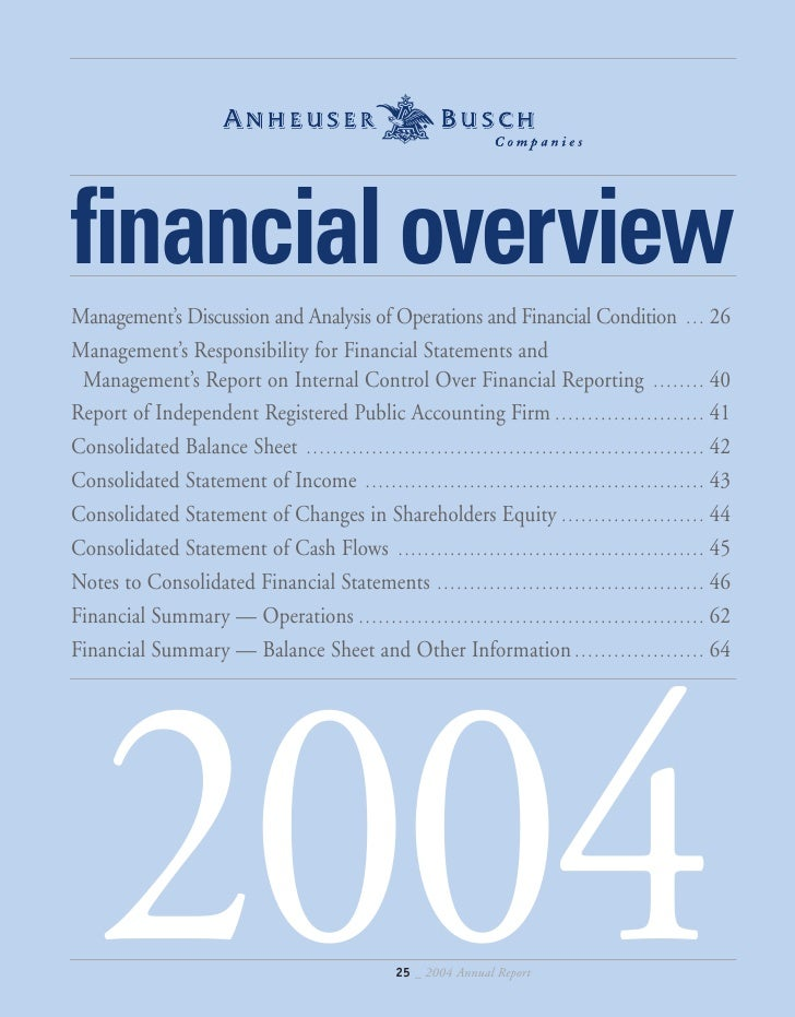 financial overview Management's Discussion and Analysis of Operations and Financial Condition . . . 26 Management's Respon...