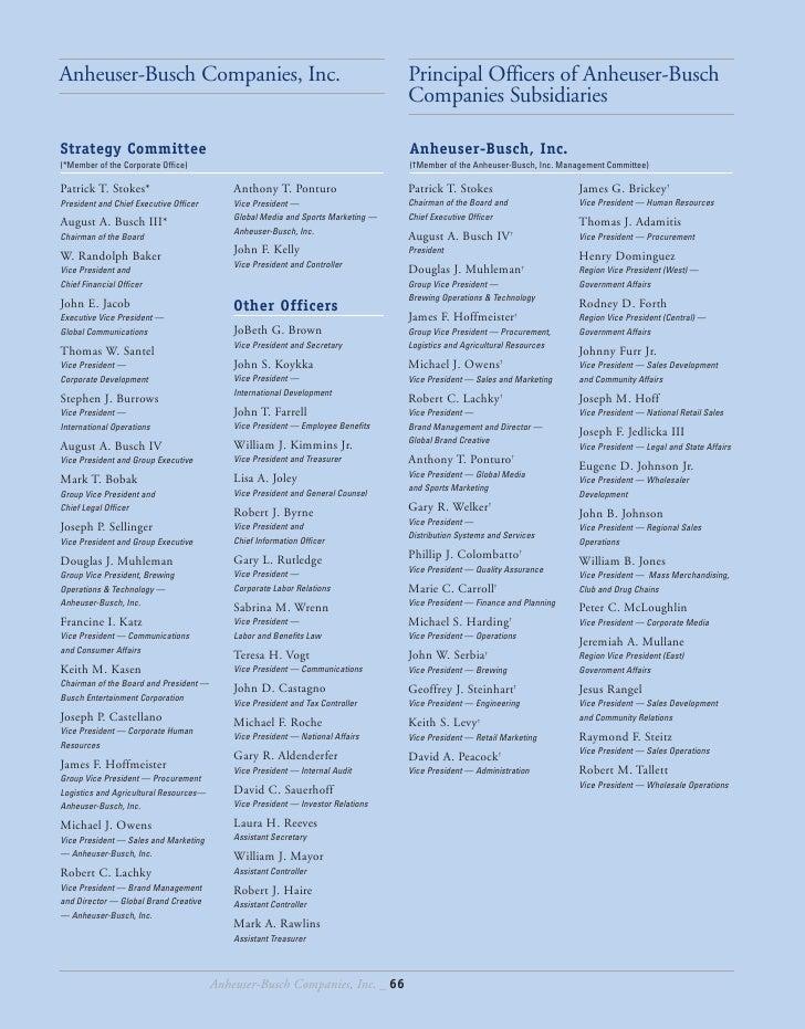 Anheuser-Busch Companies, Inc.                                                    Principal Officers of Anheuser-Busch    ...