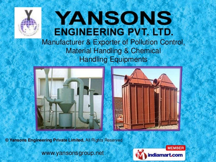 Manufacturer & Exporter of Pollution Control, Material Handling & Chemical <br />Handling Equipments<br />