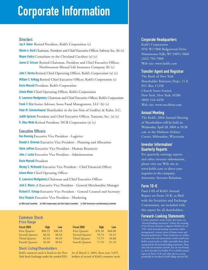 Kohls Annual Reports 2003
