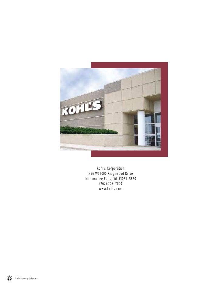 Kohl's Corporation                               N56 W17000 Ridgewood Drive                              Menomonee Falls, ...