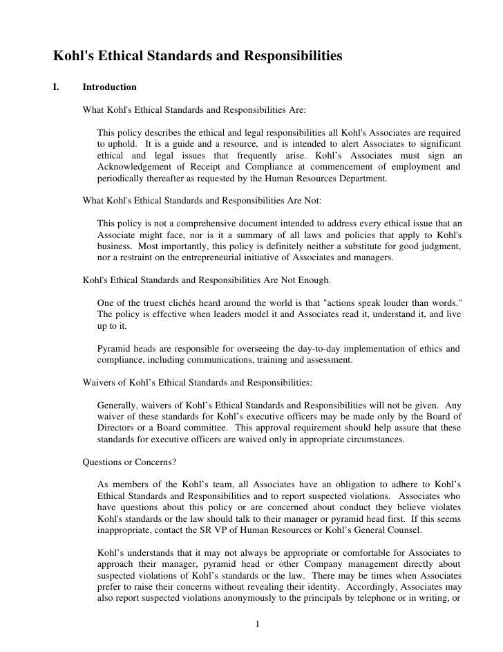Kohls Code Of Ethics
