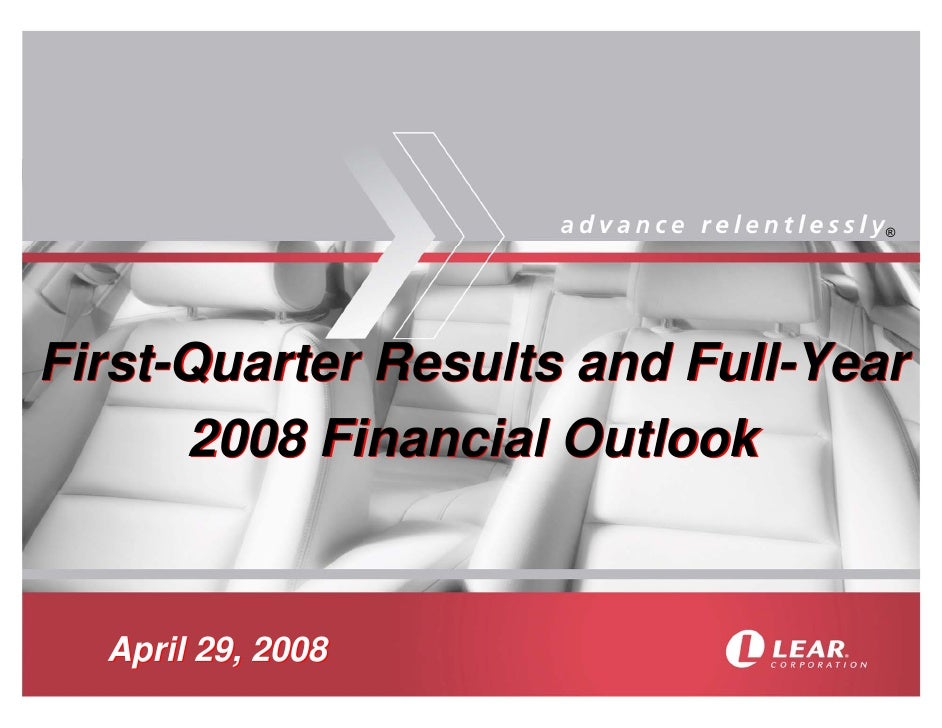 ®     First-Quarter Results and Full-Year       2008 Financial Outlook     April 29, 2008