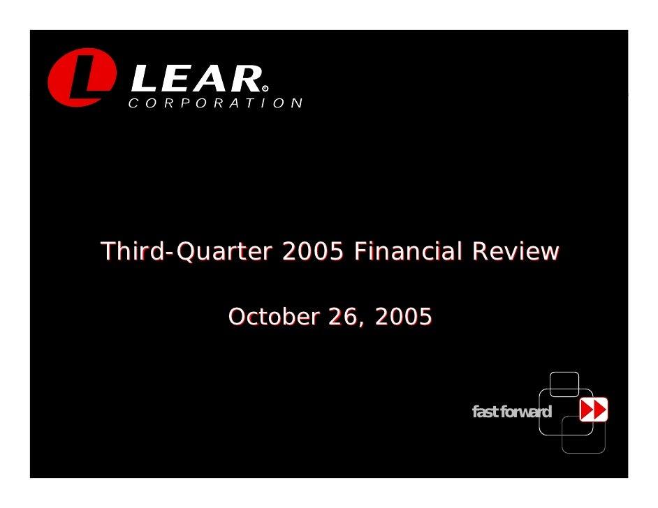 R     Third-Quarter 2005 Financial Review           October 26, 2005                               fast forward           ...