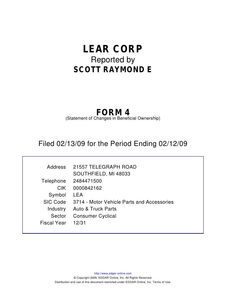LEAR CORP                       Reported by                    SCOTT RAYMOND E                                         FOR...