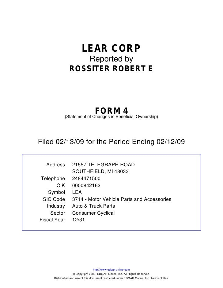 LEAR CORP                      Reported by                  ROSSITER ROBERT E                                         FORM...