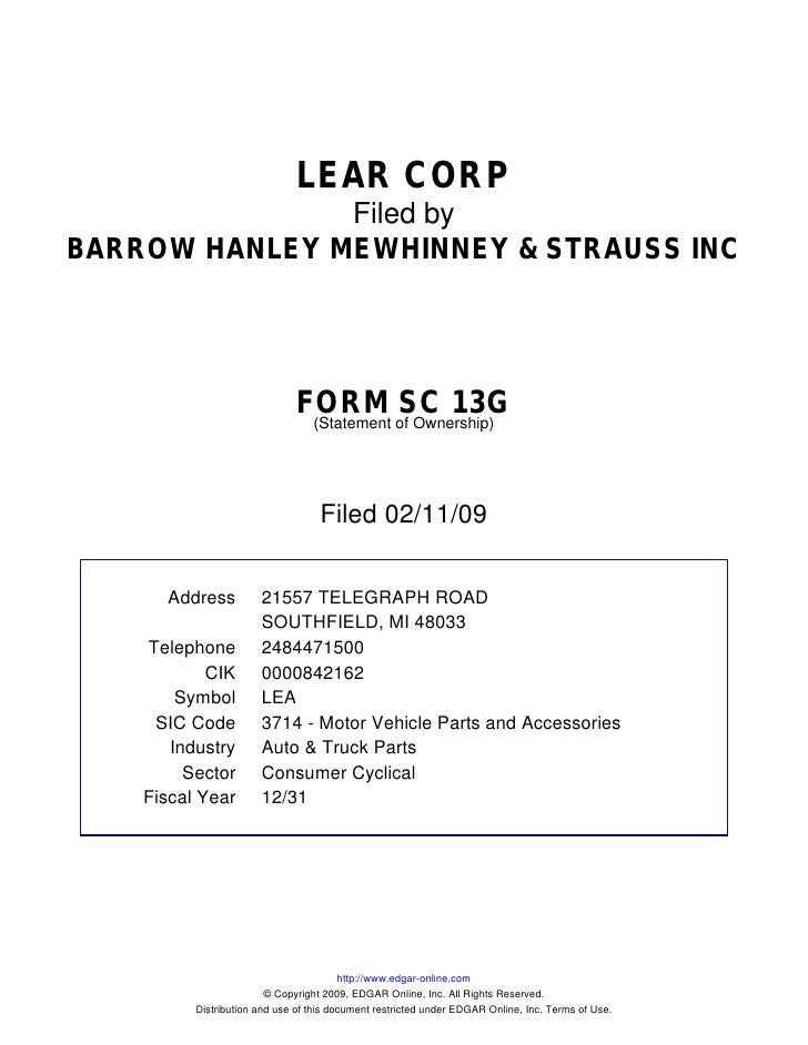 LEAR CORP                Filed by BARROW HANLEY MEWHINNEY & STRAUSS INC                                    FORM of Ownersh...