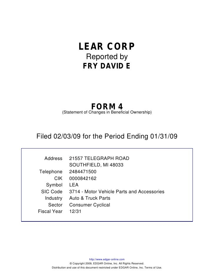 LEAR CORP                                Reported by                               FRY DAVID E                            ...