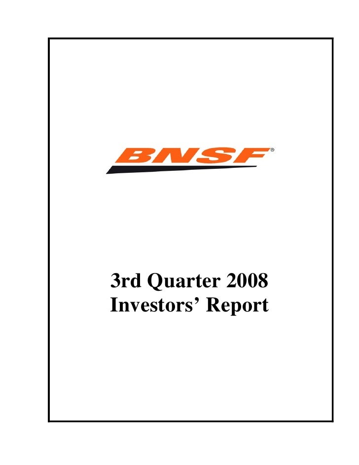 3rd Quarter 2008 Investors' Report