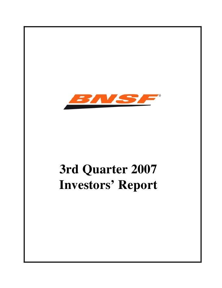 3rd Quarter 2007 Investors' Report