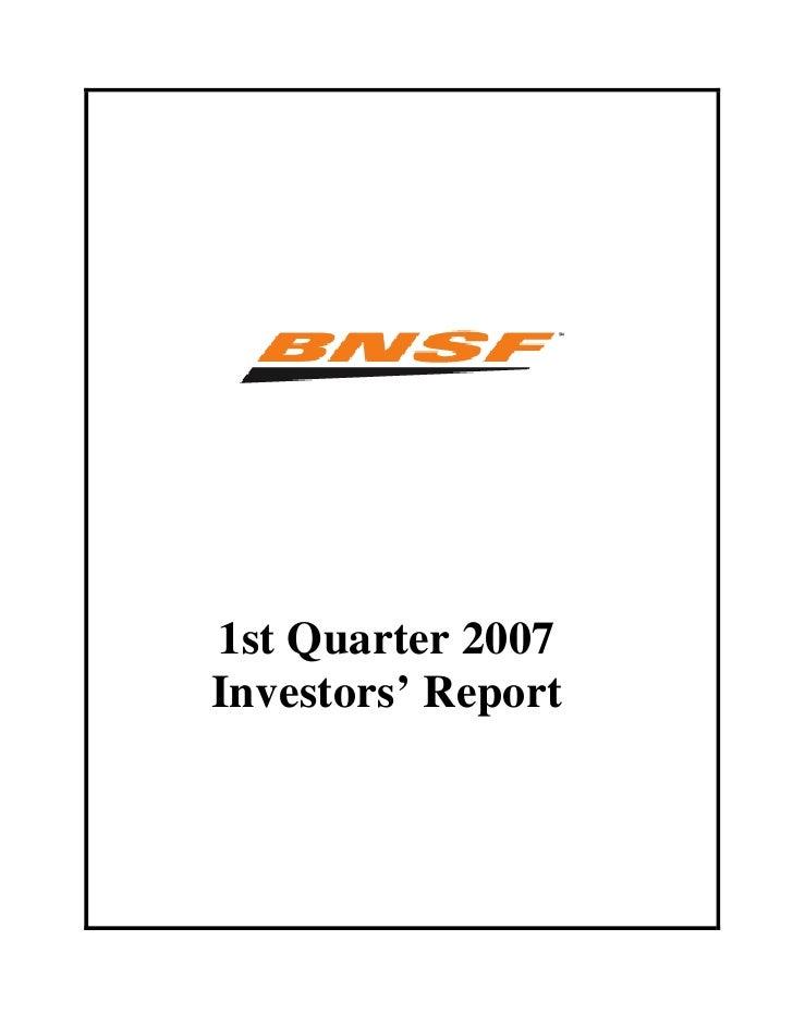 1st Quarter 2007 Investors' Report