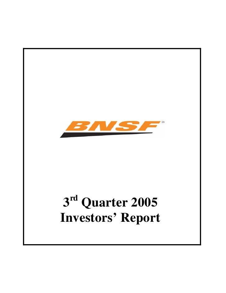 rd  3 Quarter 2005 Investors' Report