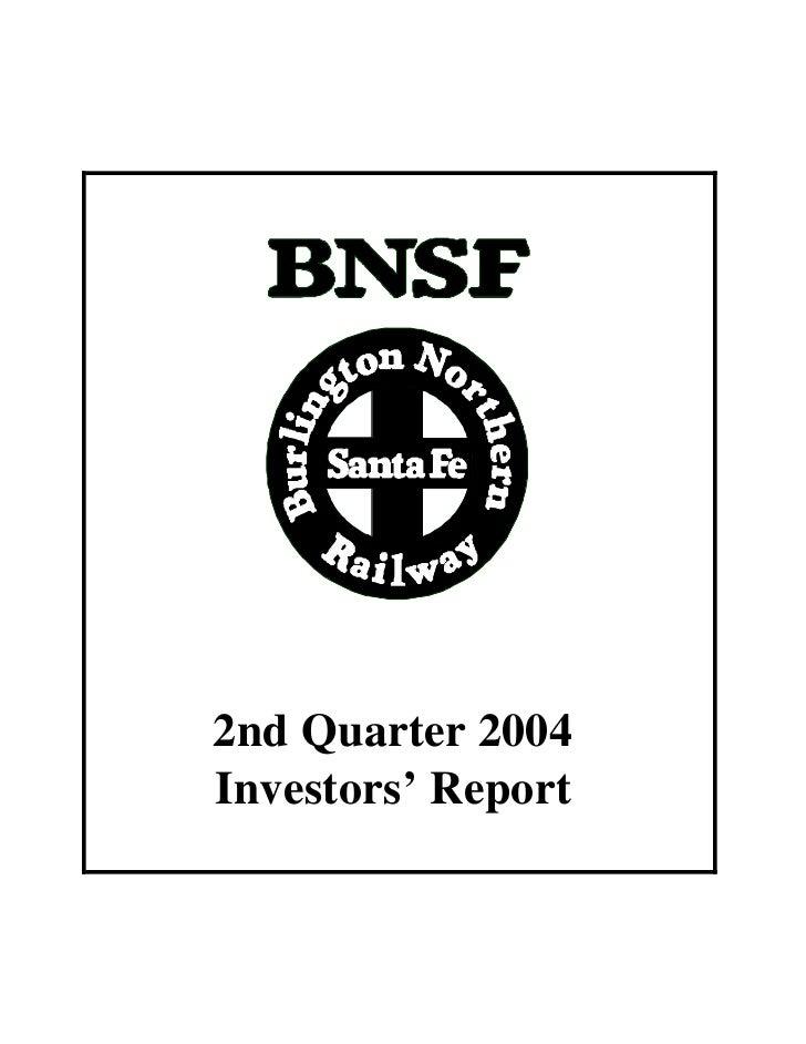 2nd Quarter 2004 Investors' Report