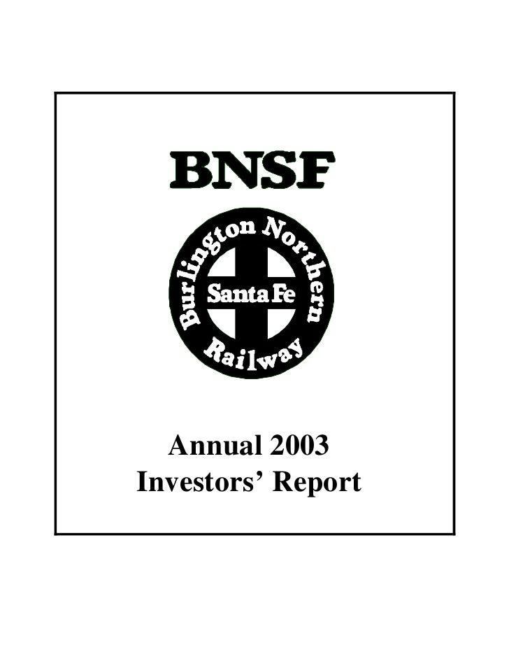 Annual 2003 Investors' Report