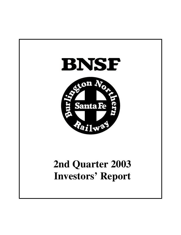 2nd Quarter 2003 Investors' Report