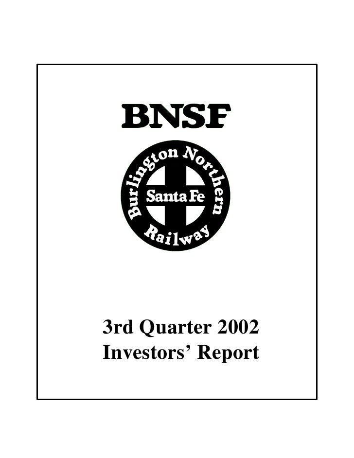 3rd Quarter 2002 Investors' Report