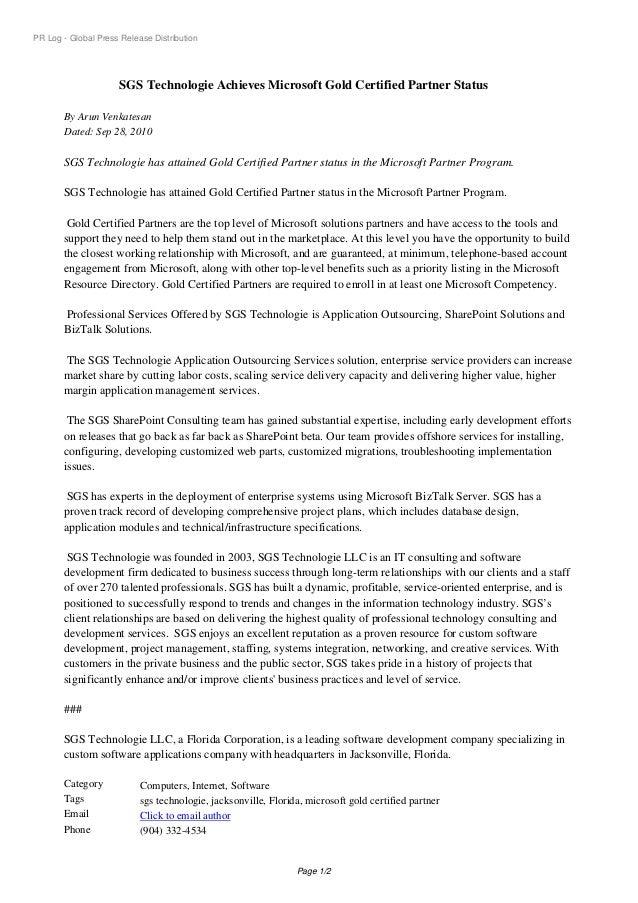 PR Log - Global Press Release Distribution SGS Technologie Achieves Microsoft Gold Certified Partner Status By Arun Venkat...