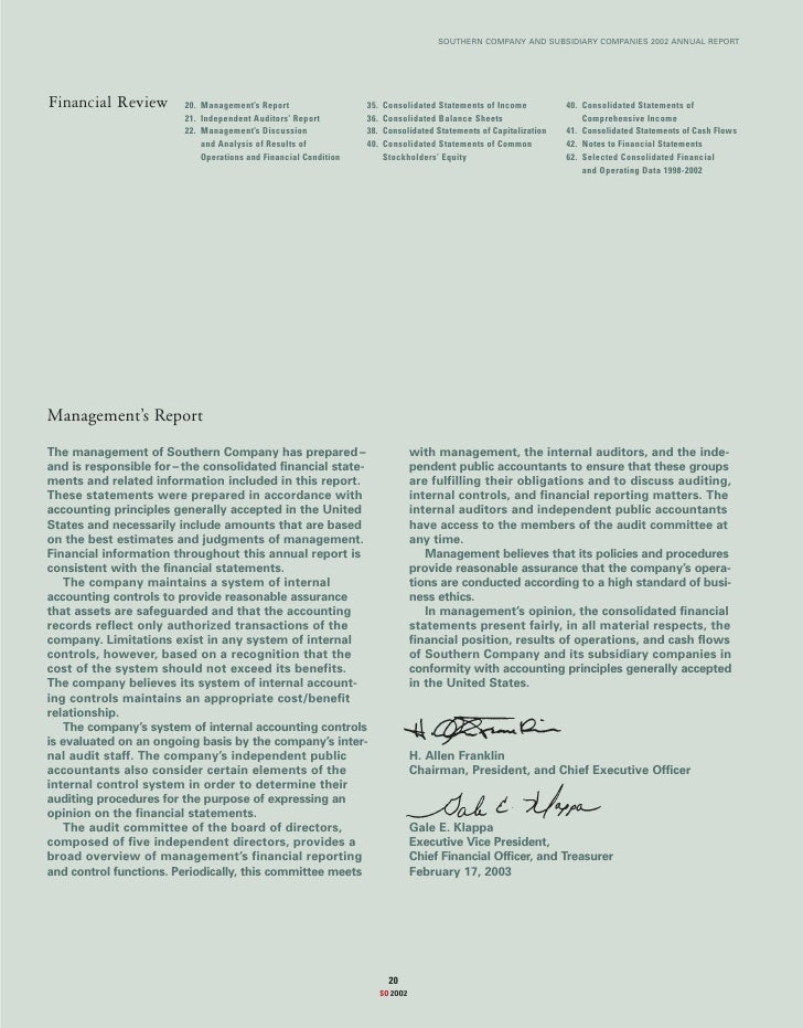 SOUTHERN COMPANY AND SUBSIDIARY COMPANIES 2002 ANNUAL REPORT     Financial Review        20. Management's Report          ...