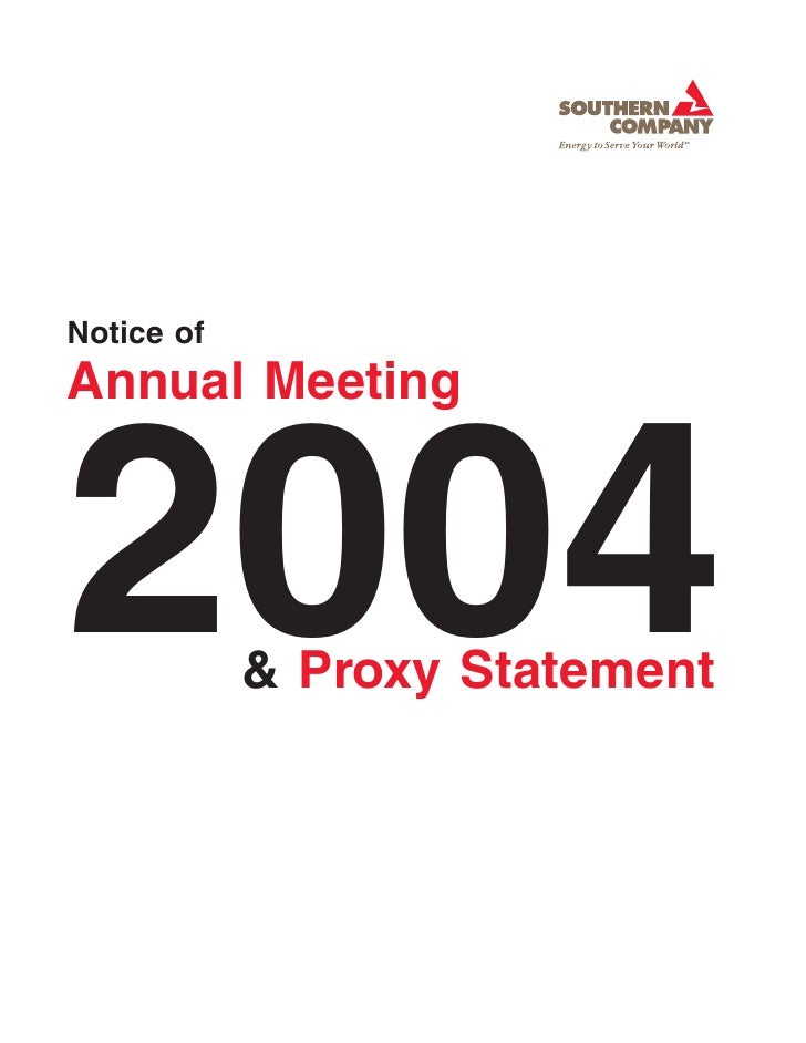 Notice of Annual Meeting    2004        & Proxy Statement