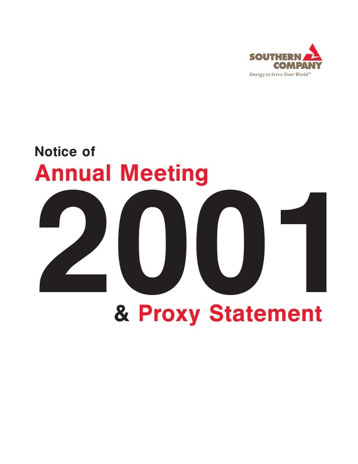 Notice of Annual Meeting    2001        & Proxy Statement